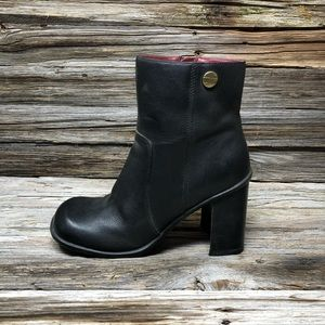 Tommy Hilfiger Black Leather Square Toe Ankle Boot
